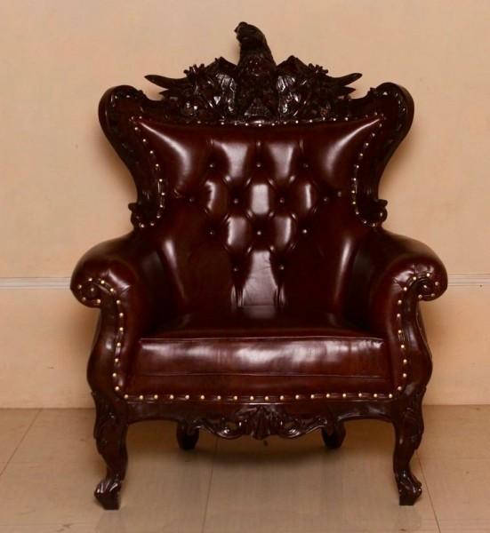 Barock Sessel, Repro-Antik-Design, Mahagoni massiv holz  aufwendige Holzschnitzerei,