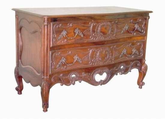 Barock Kommode , Repro-Antik-Design, Mahagoni massiv Holz, Holzschnitzerei