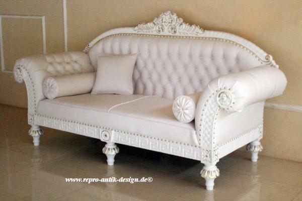 Barock Sofa 3-Sitzer, Repro-Antik-Design, Mahagoni massiv holz  aufwendige Holzschnitzerei,weißKunstleder mit Goldnieten
