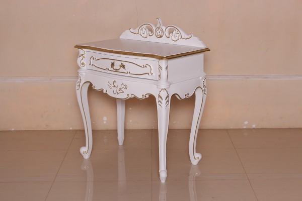 Barock Nachttisch Valbonne, Repro-Antik-Design, Mahagoni Massiv Holz ausgefallen mit Gold exclusive