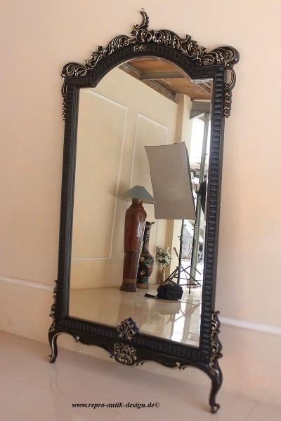 Barock Wandspiegel Spiegel, Repro-Antik-Design, schwarz gold , Mahagoni massiv holz, ausgefallen exclusive