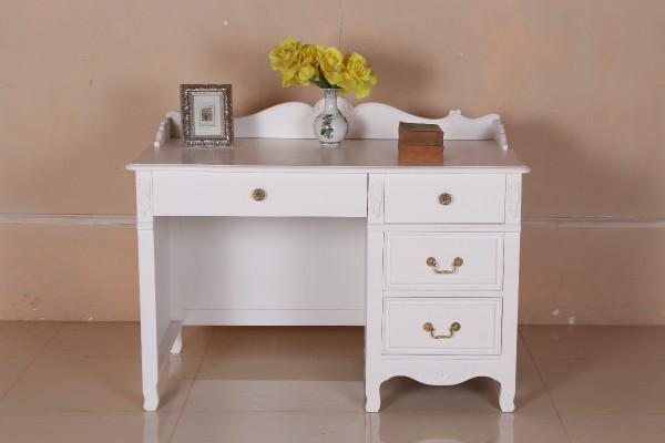 Barock Schreibtisch, Repro-Antik-Design, Mahagoni Massiv Holz lackiert in weiß mit Goldgriffe