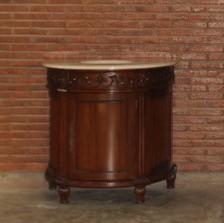 Barock Waschtisch mit Marmorplatte, Repro-Antik-Design Mahagoni massiv Holz mit Goldgriffen ausgefallen exclusive