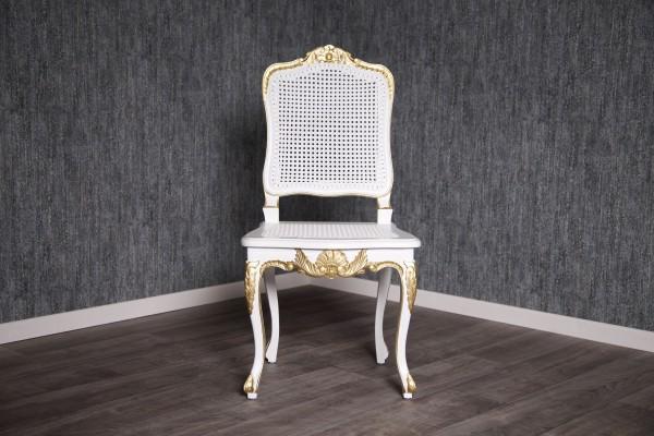 Barock Stuhl RCR 016 in Antik-weiß mit goldenem Dekor und Rattangeflecht
