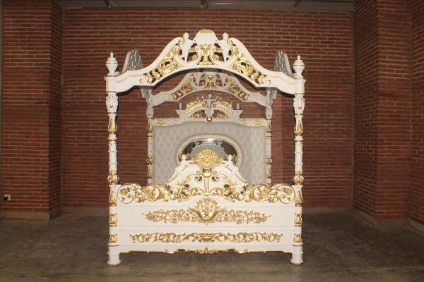 Barock Bett Himmelbett, Repro-Antik-Design, Mahagoni Massiv Holz ausgefallen exclusive gold mit Engel