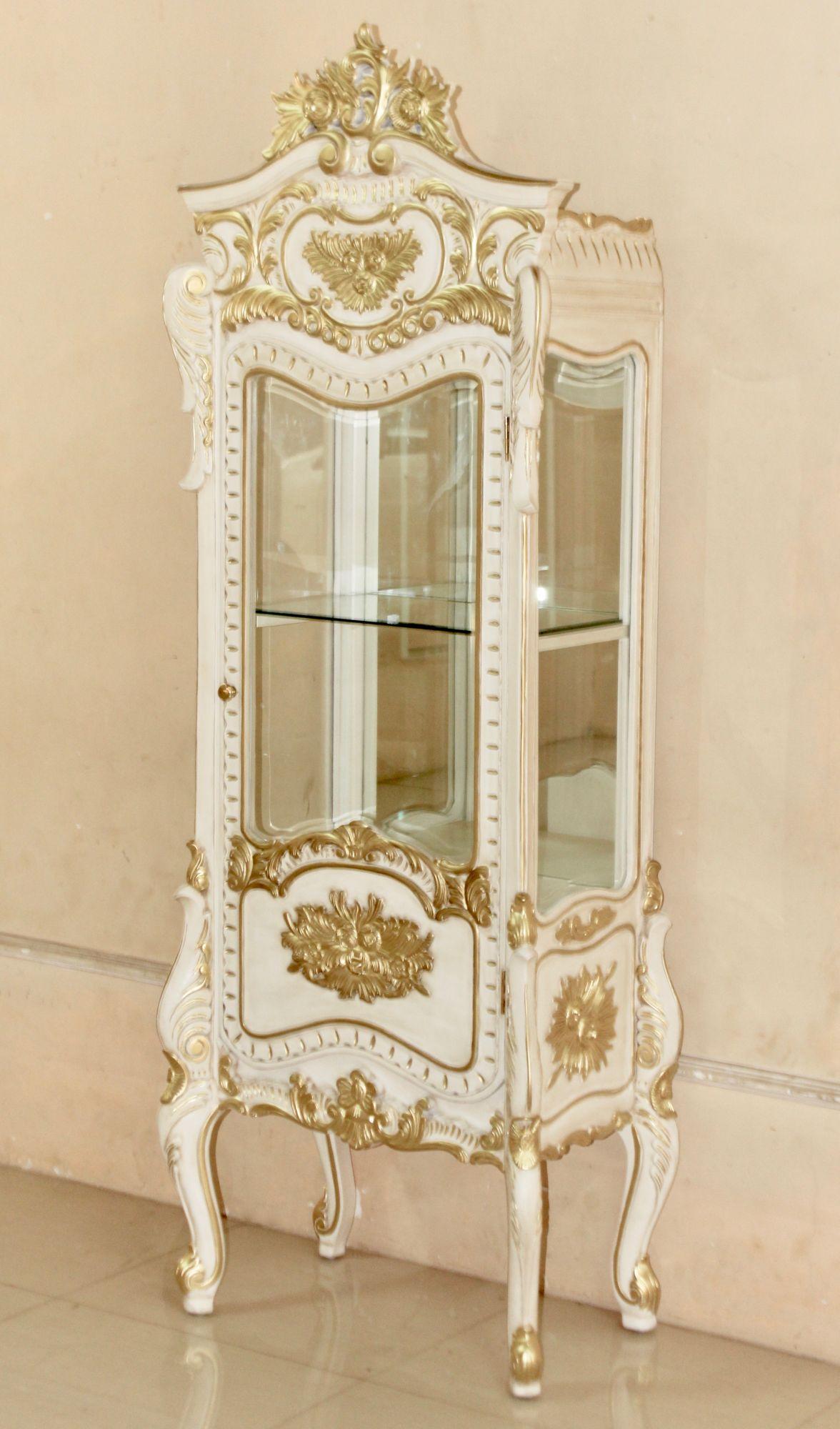 barock vitrine 1 t rig lackiert in alt wei mit starkem. Black Bedroom Furniture Sets. Home Design Ideas
