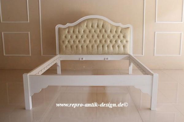 Barock Bett French Minimal, Repro-Antik-Design, Mahagoni Massiv Holz Goldnieten ausgefallen exclusive