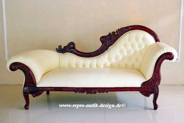 barock chaiselongue isf 028 in mahagoni rot mit creme weissem kunstleder bezug sofas sessel. Black Bedroom Furniture Sets. Home Design Ideas