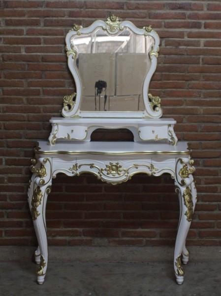 Barock Tisch Schminktisch, Repro-Antik-Design, Mahagoni massiv holz, weiß gold lackiert mit Schubladen und Spiegelaufbau, ausgefallen exclusive