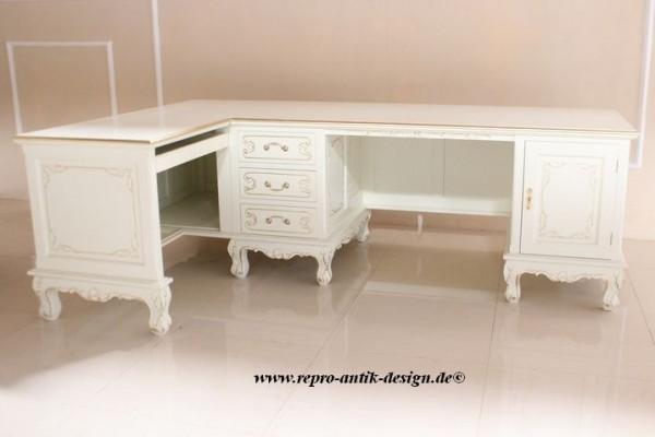 Barock Tisch Schreibtisch Partnertisch L-Tisch  , Repro-Antik-Design, Mahagoni massiv Holz aufwendige weiß gold Holzschnitzerei