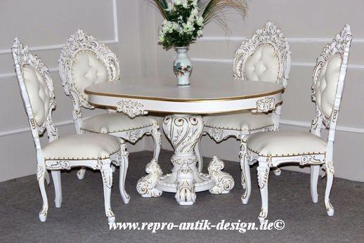 Barock Esszimmer Stuhl Tisch Garnitur Polstermöbel, Repro-Antik-Design,Mahagoni massiv Holz, Gold Dekor, weiß Kunstleder mit Goldnieten, aufwendige Holzschnitzerei