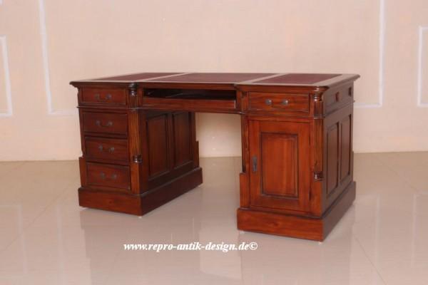 Barock Tisch Schreibtisch Partnertisch mit Schubladen und Tür, Repro-Antik-Design,Mahagoni massiv Holz