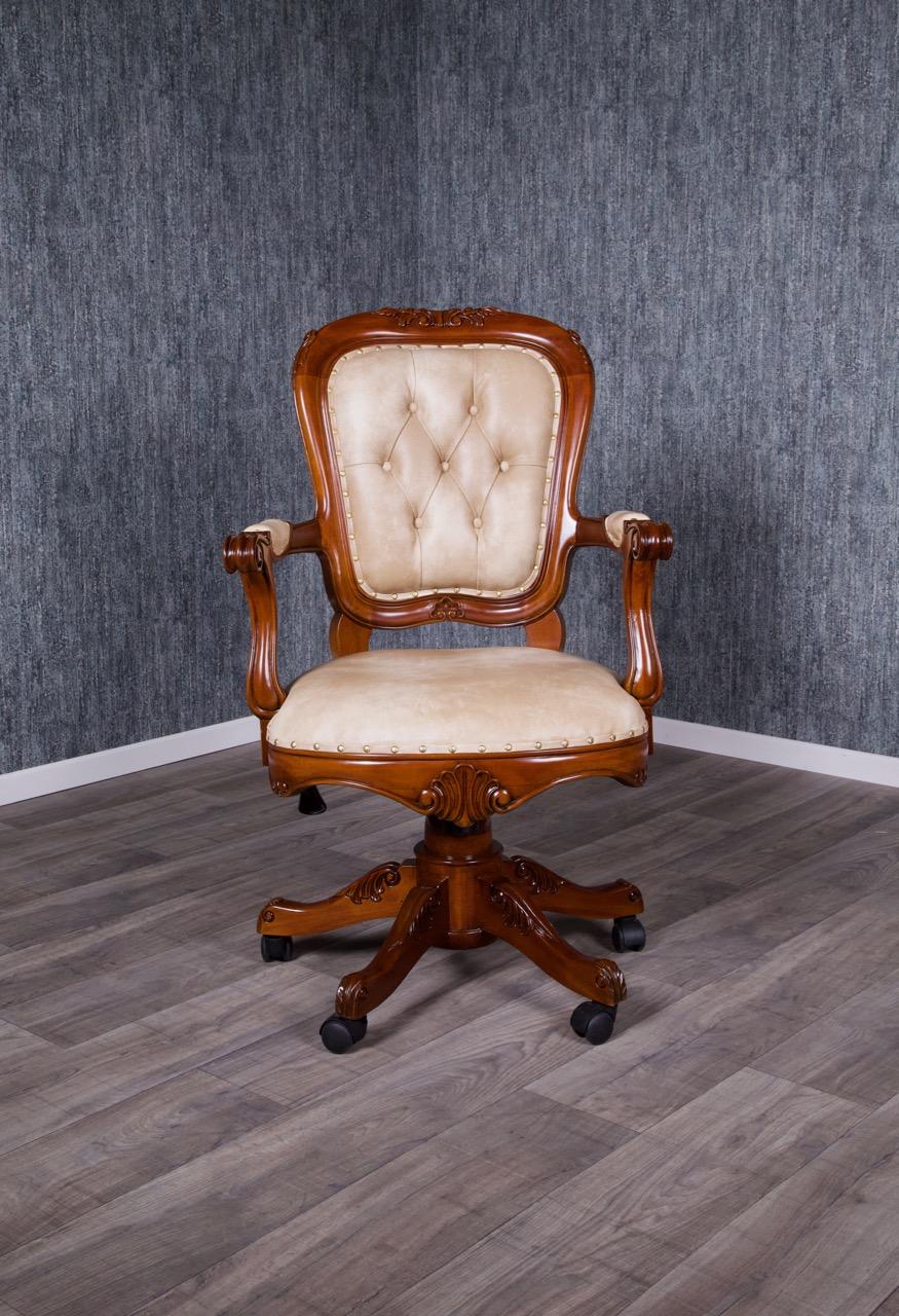 barock bürostuhl swivel, gebeizt in nussbaum | büro stühle | stühle