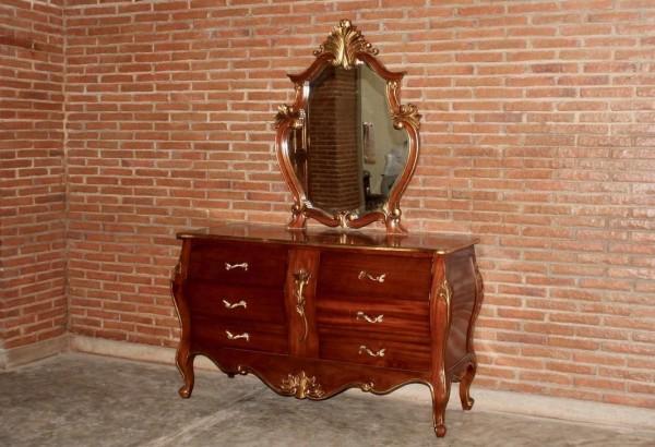 Barock Kommode Schminktisch, Repro-Antik-Design, Mahagoni Massiv Holz Gold ausgefallen