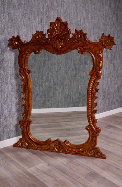 Barock Spiegel Wandspiegel Ankleidespiegel, Repro-Antik-Design, Mahagoni massiv Holz, lackiert in braun gold ,aufwendige schnitzerei, ausgefallen