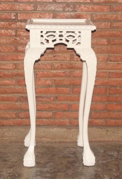 Barock Beistelltisch Telefontisch, Repro-Antik-Design, Mahagoni massiv holz, weiß, aufwendige Holzschnitzerei