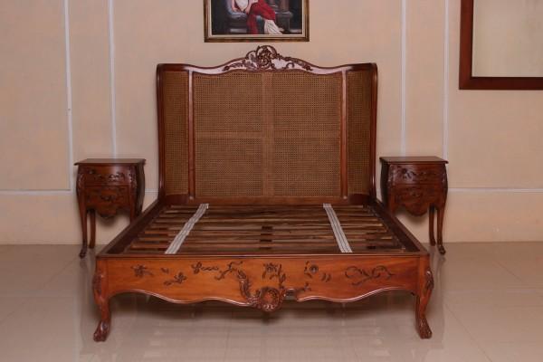 Barock Bett, Repro-Antik-Design,Mahagoni Massiv Holz ausgefallen exclusivee