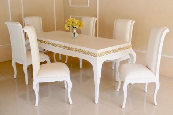 Barock Esszimmer Stuhl Tisch Garnitur Polstermöbel, Repro-Antik-Design, , Mahagoni massiv Holz, weiß gold Goldnieten , aufwendige Holzschnitzerei