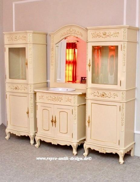 Barock Badezimmer Princess Waschtisch in creme-weiß mit Spiegel und Hochschränken
