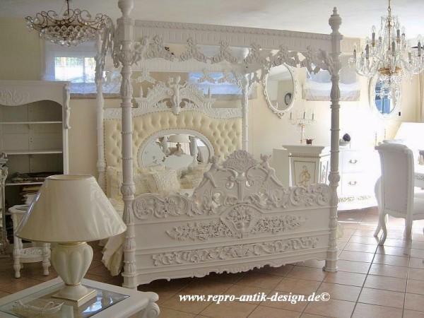 Barock Engelhimmelbett, Repro-Antik-Design, Mahagoni massiv holz, weiß Goldnieten ,Angel, ausgefallen, aufwendige Holzschnitzerei