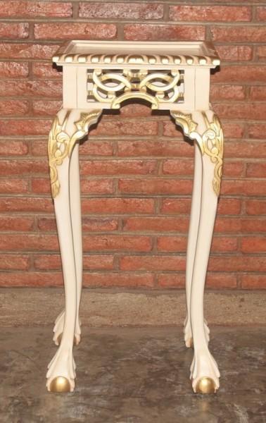 Barock Beistelltisch Telefontisch, Repro-Antik-Design, Mahagoni massiv holz, weiß gold, aufwendige Holzschnitzerei