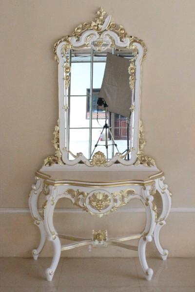 Barock Schminktisch mit Spiegel, Repro-Antik-Design, Mahagoni massiv holz, gold weiß, aufwendige Holzschnitzerei, ausgefallen