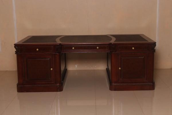 Barock Schreibtisch, Repro-Antik-Design, Mahagoni Massiv Holz