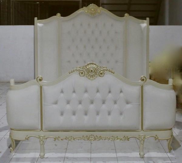 Barock Bett Polstermöbel, elfenbein leichtem gold Dekor, Repro-Antik-Design,Mahagoni Massiv Holz ausgefallen exclusivee