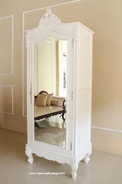 Barock Schrank Kleiderschrank 1-türig  Spiegel, Repro-Antik-Design, Mahagoni massiv holz, gold Beschläge,weiß lackiert,ausgefallen, mit aufwendiger Holz schnitzerei.