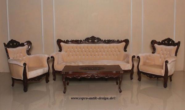 Barock Sofa Couch Garnitur Sessel Tisch, Repro-Antik-Design, Mahagoni massiv holz, Samtbezug, aufwendige Holzschnitzerei