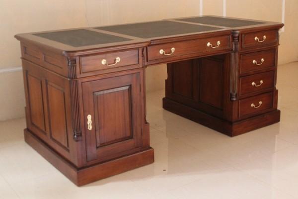Barock Tisch Schreibtisch Partnertisch mit Schubladen und Tür Goldgriffe, Repro-Antik-Design,Mahagoni massiv Holz