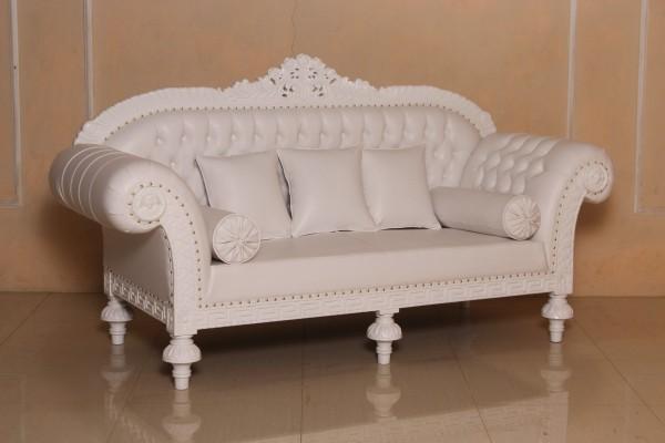 Barock Sofa 3-Sitzer, Repro-Antik-Design, Mahagoni massiv holz  aufwendige Holzschnitzerei weiß, Kunstleder mit Goldnieten