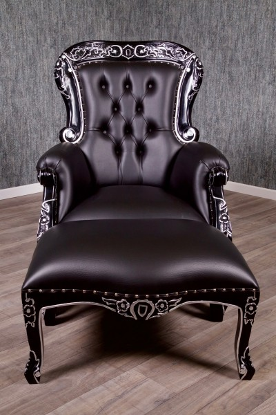 Barock Sessel Grandfather Polstermöbel mit Hocker, Repro-Antik-Design, Mahagoni massiv Holz,schwarz Kunstleder silbernieten, silber Dekor aufwendige Holzschnitzerei