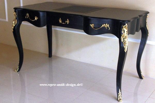 Barock Schreibtisch Oscar, Repro-Antik-Design Massiv Mahagoni Holz Gold Dekor