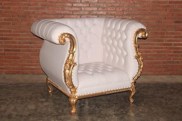 Barock Sessel, belegt mit Blattgold,  Repro-Antik-Design, Mahagoni massiv holz  aufwendige Holzschnitzerei,