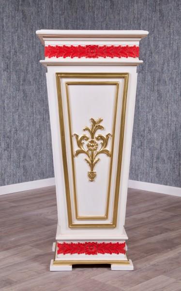 Barock Möbel, Pflanzensäule Blumenständer, Repro-Antik-Design, Mahagoni massiv holz, gold rot beige, Holzschnitzerei