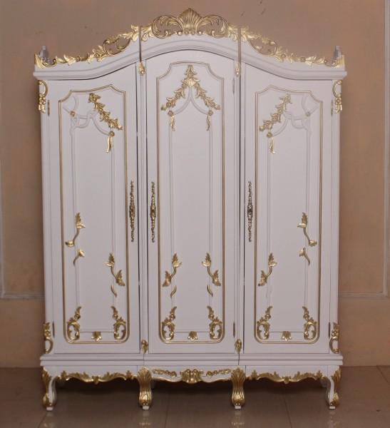 Barock Schrank Kleiderschrank 2-türig ohne Spiegel, Repro-Antik-Design, Mahagoni massiv holz, gold Beschläge, weiß gold lackiert,ausgefallen, mit aufwendiger Holz schnitzerei.
