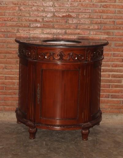 Barock Waschtisch mit Granitplatte, Repro-Antik-Design Mahagoni massiv Holz mit Goldgriffen ausgefallen exclusive