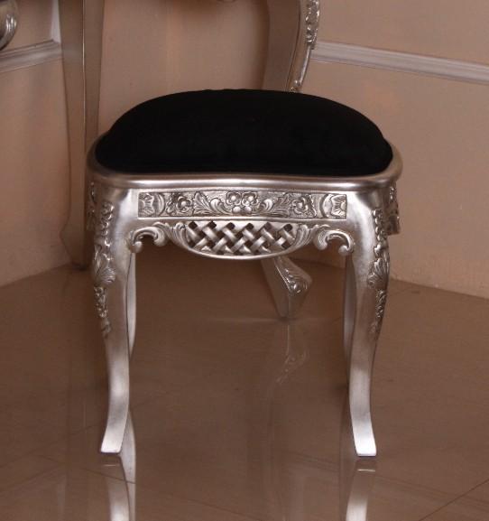 Barock Schminkhocker Stuhl , Repro-Antik-Design, Mahagoni massiv holz, silber, aufwendige Holzschnitzerei, ausgefallen