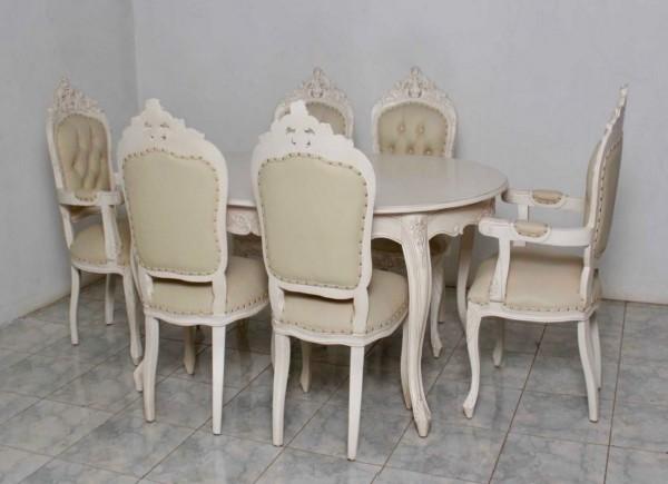 barock esszimmer garnitur artes oval alt wei goldende nieten 1 tisch mit 6 st hlen. Black Bedroom Furniture Sets. Home Design Ideas
