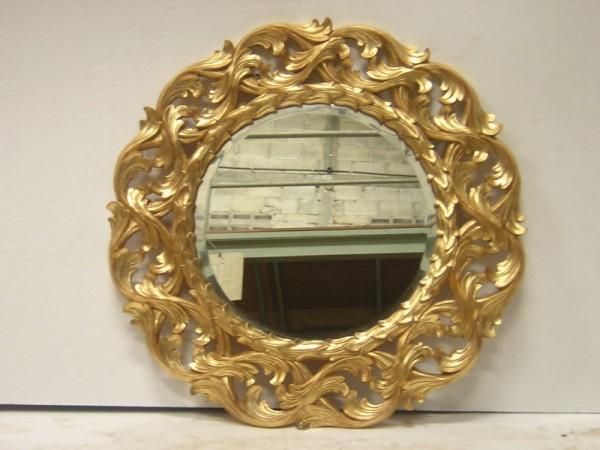 Barock Wandspiegel Spiegel rund , Repro-Antik-Design, Mahagoni massiv holz, ausgefallen exclusive
