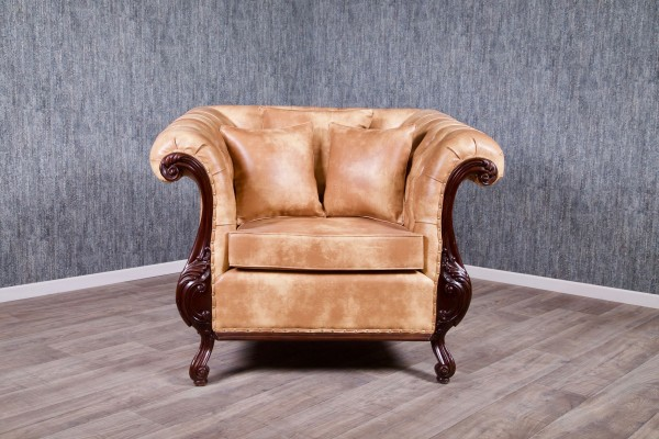 Barock Sessel Chesterfield 1-Sitzer, Repro-Antik-Design, Mahagoni massiv holz, kolonial braun, Karamell Kunstleder Bezug