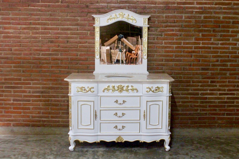 barock waschtisch vanity antik wei mit goldenem dekor und. Black Bedroom Furniture Sets. Home Design Ideas