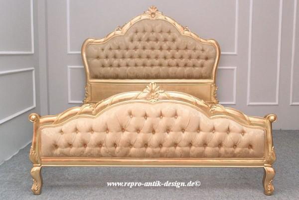 Barock Bett Grazia, Repro-Antik-Design, Mahagoni Massiv Holz gold ausgefallen exclusive