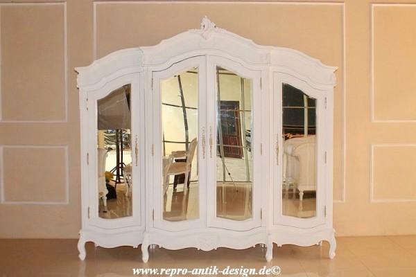 Barock Schrank Kleiderschrank 4 Türig Mit Spiegel, Repro Antik Design,  Mahagoni
