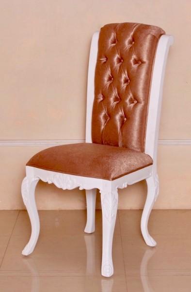 Barockstuhl Polstermöbel, Repro-Antik-Design, Mahagoni massiv Holz, aufwendige Holzschnitzerei weiß Kupfer