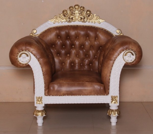 Barock Sessel Thronstuhl Königsstuhl, Repro-Antik-Design, Mahagoni massiv holz gold lackiert,aufwendige Holzschnitzerei, Kunstleder braun mit Goldnieten