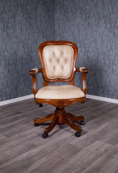 Barock Stuhl Bürostuhl Repro-Antik-Design, Mahagoni massiv holz, aufwendige, Kunstleder  mit Goldnieten