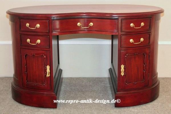 Barock Tisch Schreibtisch, Repro-Antik-Design, Mahagoni Massiv Holz , Goldgriffe