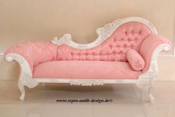 Barock Chaiselongue Sofa , Repro-Antik-Design Mahagoni massiv holz alt-weiß, rosa Stoffbezug , aufwendige Holzschnitzerei